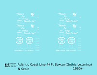 Atlantic Coast Line 40 Ft Boxcar White ACL Thanks For Using... - Decal - Choose Scale