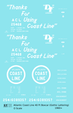 Atlantic Coast Line 40 Ft Boxcar White ACL Thanks For Using... - Decal Sheet