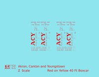 Akron Canton and Youngstown 40 Ft Boxcar Red ACY Yellow Car - Decal - Choose Scale
