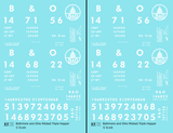 Baltimore and Ohio Ribbed Triple Hopper White Futura Font - Decal - Choose Scale
