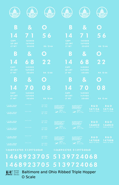 Baltimore and Ohio Ribbed Triple Hopper White Futura Font - Decal Sheet