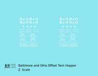 Baltimore and Ohio Offset Twin Hopper White  - Decal - Choose Scale