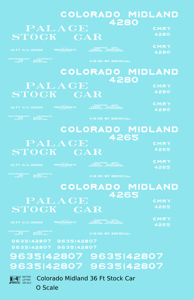 Colorado Midland Palace Stock Car White - Decal Sheet