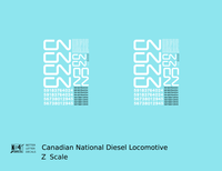 Canadian National Diesel Locomotive White First Noodle Scheme - Decal - Choose Scale