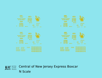Central Of New Jersey Express Boxcar Yellow - Decal - Choose Scale