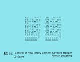 Central Of New Jersey Cement Covered Hopper Black Roman Font - Decal - Choose Scale