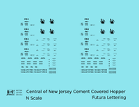 Central Of New Jersey Cement Covered Hopper Black Futura Font - Decal - Choose Scale