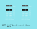 CNO&TP Queen & Crescent Route 36 Ft Boxcar White - Decal - Choose Scale