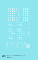 Clinchfield Offset Twin Hopper White CRR - Decal - Choose Scale
