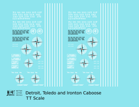 Detroit, Toledo and Ironton Caboose White  - Decal - Choose Scale