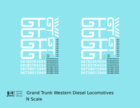 Grand Trunk Western Diesel Locomotive White - Decal - Choose Scale