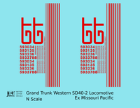 Grand Trunk Western EMD SD40-2 Locomotive Red Ex-Missouri Pacific - Decal - Choose Scale