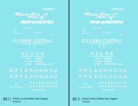 Illinois Central Offset Twin Hopper White Mainline Of Mid-America - Decal - Choose Scale