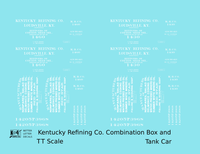 Kentucky Refining Co Combination Tank & Boxcar White Louisville - Decal - Choose Scale