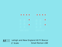 Lehigh and New England 40 Ft Boxcar White Small LNE - Decal - Choose Scale