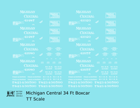 Michigan Central 34 Ft Boxcar White  - Decal - Choose Scale