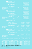 Michigan Central 34 Ft Boxcar White  - Decal Sheet