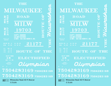 Milwaukee Road 40 Ft Boxcar White Olympian / Hiawatha - Decal - Choose Scale