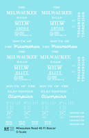 Milwaukee Road 40 Ft Boxcar White Olympian / Hiawatha - Decal Sheet