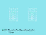 Milwaukee Road Square Body Ore Jenny Car White  - Decal - Choose Scale