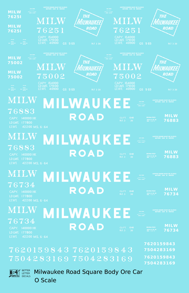 Milwaukee Road Square Body Ore Jenny Car White  - Decal Sheet