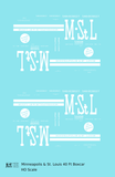 Minneapolis and St Louis 40 Ft Steel Boxcar White MSTL - Decal - Choose Scale
