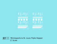 Minneapolis and St Louis Three Bay Hopper MSTL - Decal - Choose Scale