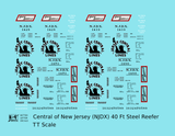 Central Of New Jersey 40 Ft Steel Ice Reefer Black NJDX - Decal - Choose Scale