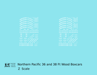 Northern Pacific 36 Ft Wood Boxcar White  - Decal - Choose Scale