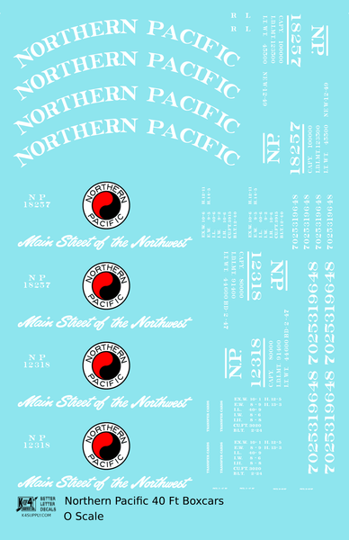 Northern Pacific 40 Ft Wood Or Steel Boxcar White  - Decal Sheet
