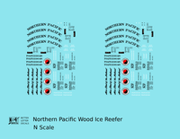 Northern Pacific Wood Ice Reefer Black  - Decal - Choose Scale