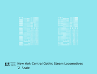 New York Central Gothic Steam Locomotive White - Decal - Choose Scale