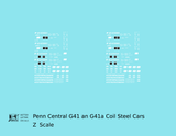 Penn Central G41 and G41A Coil Steel Car White - Decal - Choose Scale