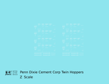 Penn Dixie Cement Corp. Ribbed Twin Hopper White - Decal - Choose Scale
