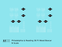 Philadelphia & Reading 36 Ft Wood Boxcar Black and White - Decal - Choose Scale