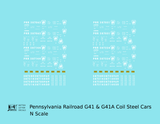 Pennsylvania Railroad G41 and G41A Coil Steel Car White - Decal - Choose Scale