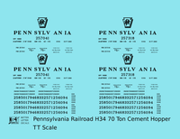Pennsylvania Railroad H34 Cement Covered Hopper Black - Decal - Choose Scale