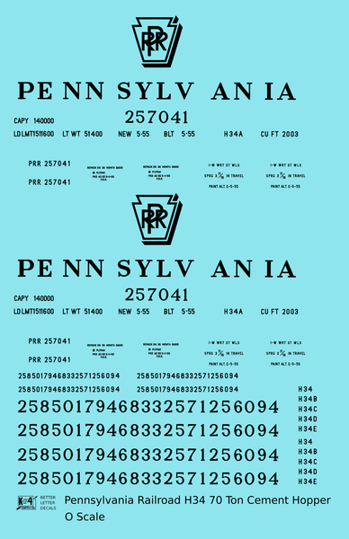 Pennsylvania Railroad H34 Cement Covered Hopper Black - Decal Sheet