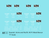 Quanah, Acme and Pacific 40 Ft Wood Boxcar White  - Decal - Choose Scale