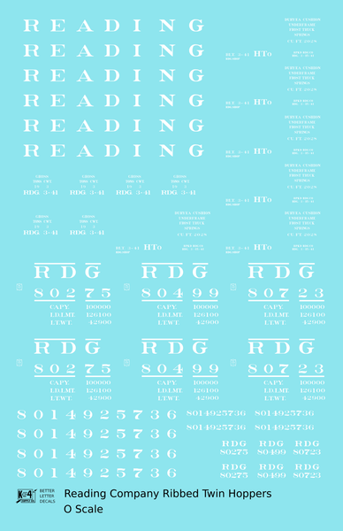 Reading Ribbed Twin Hopper White Roman Letter - Decal Sheet