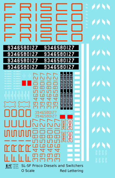 SLSF Frisco Diesel Locomotive Red and White - Decal Sheet
