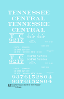 Tennessee Central Offset Twin Hopper White - Decal - Choose Scale