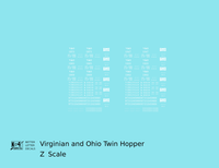 Virginian and Ohio Twin Hopper White V&O - Decal - Choose Scale