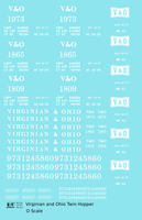 Virginian and Ohio Twin Hopper White V&O - Decal Sheet