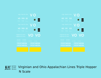 Virginian and Ohio Three Bay Hopper White V&O Appalachian Lines - Decal - Choose Scale