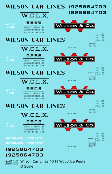Wilson Car Lines Wood Ice Reefer Black  - Decal Sheet