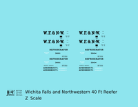 Wichita Falls & Northwestern 40 Ft Reefer Black - Decal - Choose Scale
