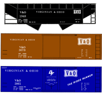 Virginian and Ohio Boxcar and Hopper White V&O - Decal