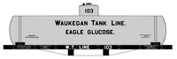 Waukegan Tank Line / Eagle Glucose Early Tank Car Black & White - Decal