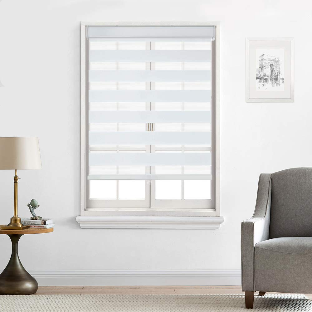 North Hills Home Customized Cordless Zebra Shades, Free-Stop Light Filtering Zebra Roller Blinds for Bedroom/Living Room/Office, White